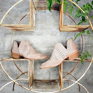 Vince Camuto Suede Perforated Cutout Booties Sz 40
